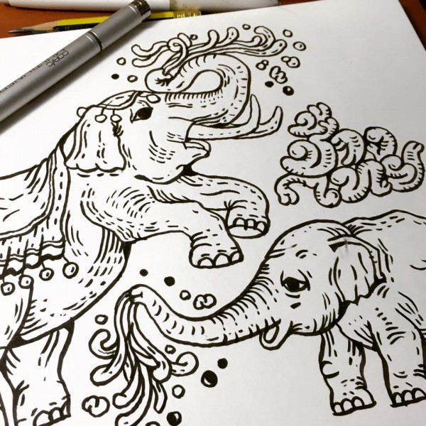 Thai elephants family sketch
