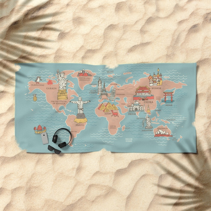 World map illustration nokhookdesign graphic world map cartoon style q8h beach towels gumiabroncs Image collections