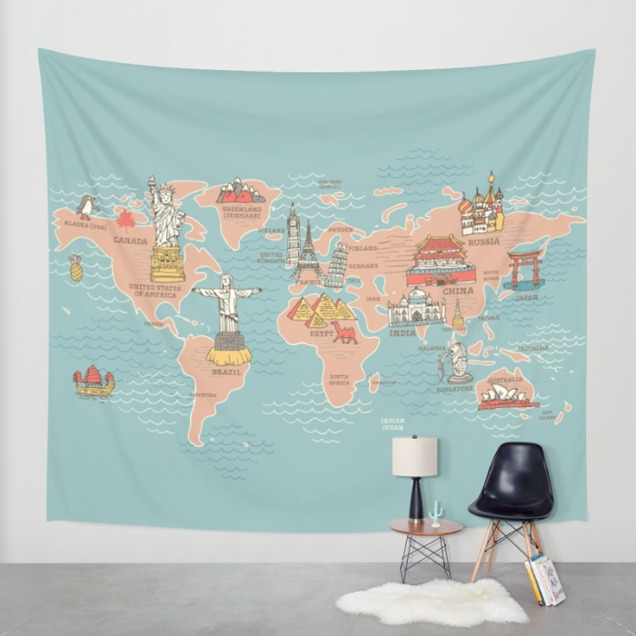 World map illustration nokhookdesign graphic world map cartoon style q8h tapestries gumiabroncs Image collections