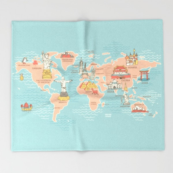 world-map-cartoon-style-q8h-throw-blankets-2